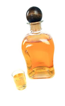 liqueur bottle on white background