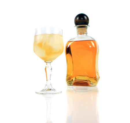 liqueur bottle on white background