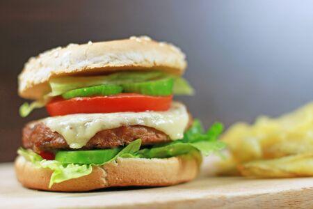 Delicious cheeseburger Stock Photo