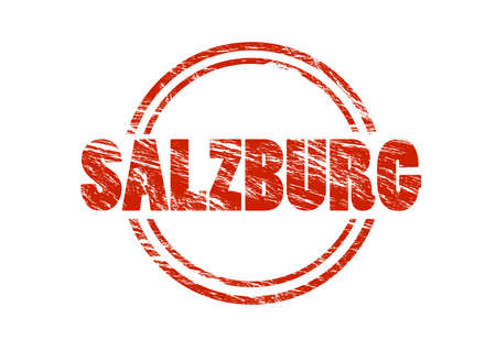 Salzburg red old vintage stamp isolated on white background. Stock Photo