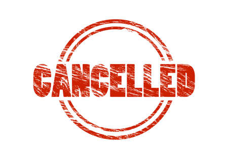 canceled red vintage rubber stamp isolated on white background
