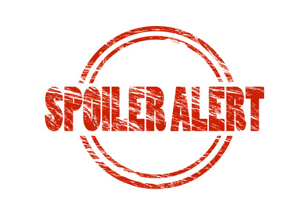 spoiler alert red vintage rubber stamp isolated on white background