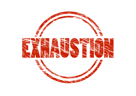exhaustion red rubber stamp isolated on white background