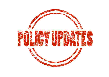 policy updates red rubber stamp isolated on white background