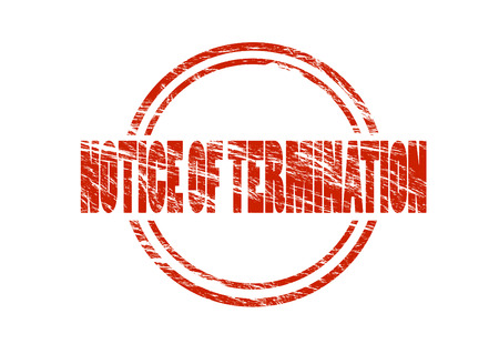 notice of termination red vintage rubber stamp isolated on white background