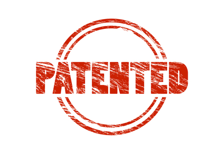 patented red vintage rubber stamp isolated on white background Stock Photo