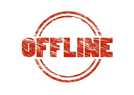 offline red vintage rubber stamp isolated on white background
