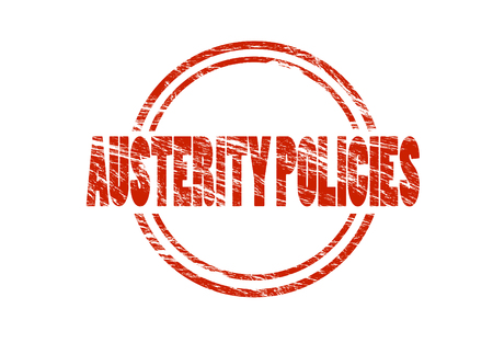 austerity policies red rubber vintage stamp isolated on white background Stockfoto