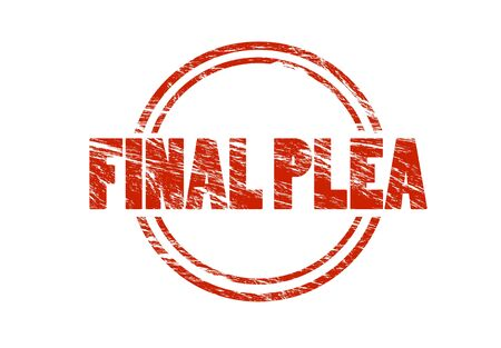 final plea red rubber vintage stamp isolated on white background Stock Photo