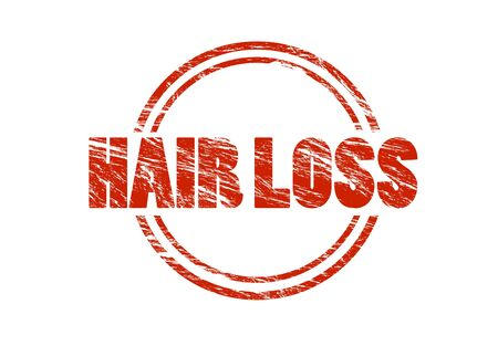 hair loss red vintage rubber stamp isolated on white background