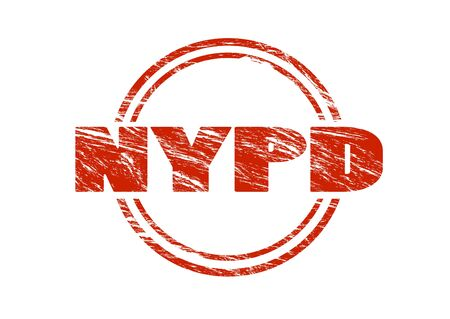 nypd red vintage rubber stamp isolated on white background Stock Photo