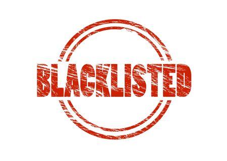 Blacklisted red old vintage stamp