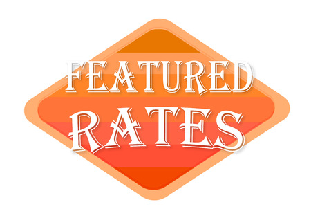 featured rates sign isolated on white background