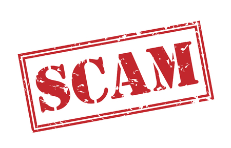 scam red stamp on white background Stock Photo