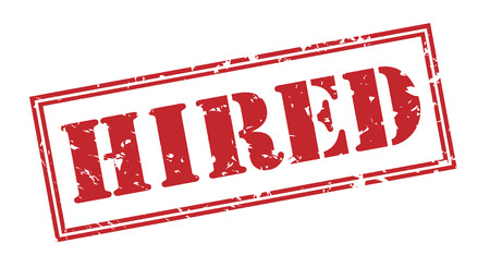 hired red stamp on white background