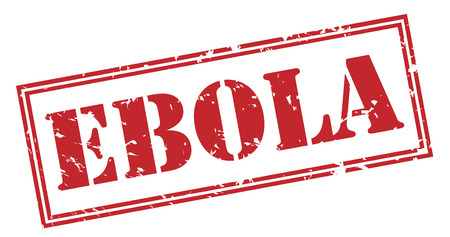 ebola red stamp on white background