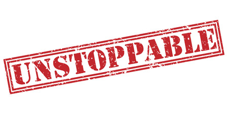 unstoppable red stamp on white background