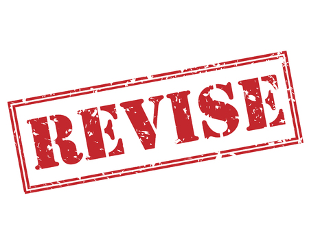 revise red stamp on white background