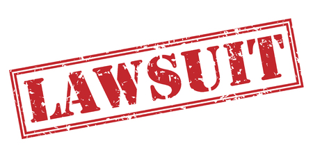 lawsuit red stamp on white background Stock Photo