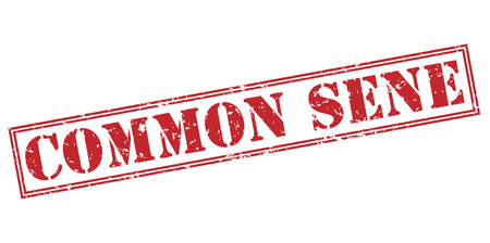common sense red stamp on white background