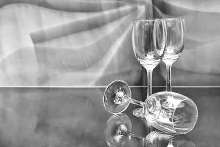 empty wine glass in black and white Stock Photo