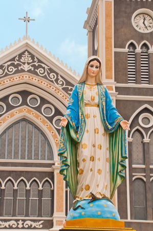 Virgin mary statue in thailand photo
