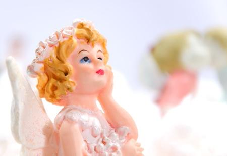 little girl angel in white background photo
