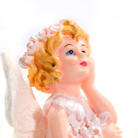 little girl angel in white background Stock Photo - 13584843