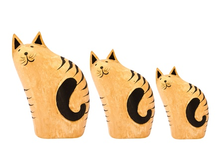 Wooden cats  isolated on white background  Stock Photo - 13624015