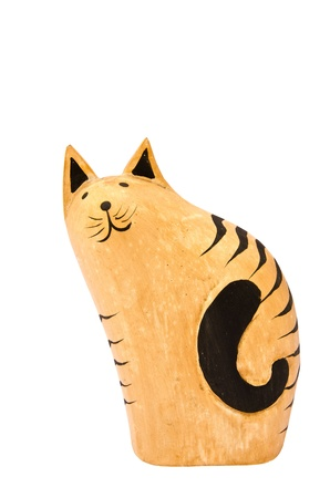 Wooden cat isolated on white background