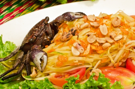 thai food somtam   green papaya salad spicy thai style   with crab Stock Photo - 13624033