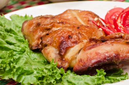 The Roasted chicken thai style in plate Stock Photo - 13624034