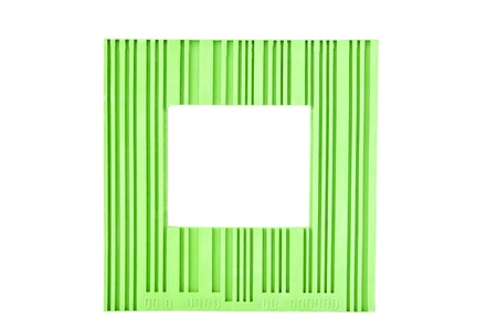 Green barcode frame isolated on white photo