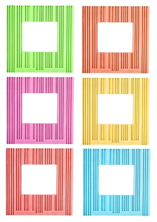 Set of colorful ornamental frames  isolated on white photo