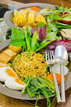 Stir-fried rice with Green curry and salted egg Stock Photo - 13837160
