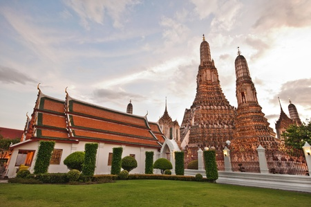 View of Wat Arun before sunset in Bangkok, Thailand photo