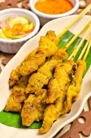 Satay pork, grilled food and side dishes vegetables Stock Photo - 14038103