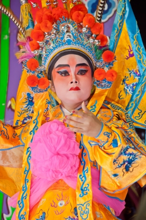 BANGKOK, Thailand - SEPTEMBER  2011 : Unidentified actor of the Chinese Opera perform  at  The Nine Emperor Gods Festival  on September 27, 2011 in Bangkok Thailand. Editorial