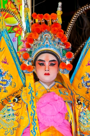 BANGKOK, Thailand - SEPTEMBER  2011 : Unidentified actor of the Chinese Opera perform  at The Nine Emperor Gods Festival  on September 27, 2011 in Bangkok Thailand.