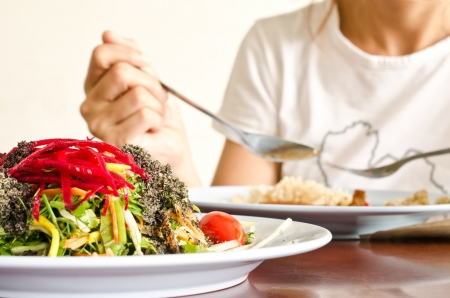 plate of fresh colorful  organic salad with black sesame dressing Stock Photo - 14205557