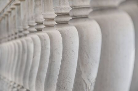 Thai style ancient  marble banister in temple  .Shallow depth of field. photo