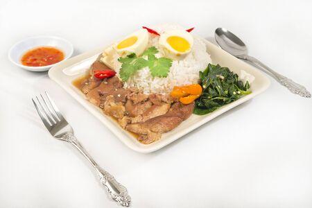 Pork Leg Stew over Rice  Kao Ka Moo   on white background Stock Photo - 14361747
