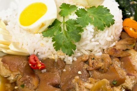 Pork Leg Stew over Rice  Kao Ka Moo   on white background Stock Photo - 14361746