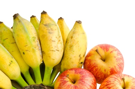Bunch of cultivated banana and apples isolated on white background