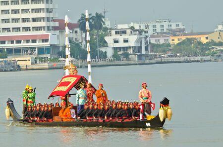 BANGKOK,THAILAND-NOVEMBER 6:The Royal Barge Procession Exercises on the occasion for Royal Kathin ceremony at Chaopraya river,on November 6,2012 in Bangkok,Thailand