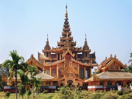 Beautiful Kambawzathardi Golden Palace  Palace of Bayinnaung  in Bago, Myanmar