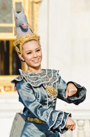 BANGKOK, THAILAND - DECEMBER 28 : Unidentified actress are showing asawa leela dance (horse dance)  at Wat Benchamabophit on December 28, 2011 in Bangkok, Thailand.