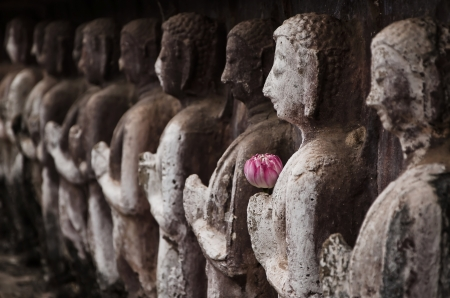 Group of buddha statue in Sukhothai Historical Park photo