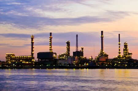 Petroleum oil refinery factory over sunrise in Bangkok, Thailand This is generic style in Thailand