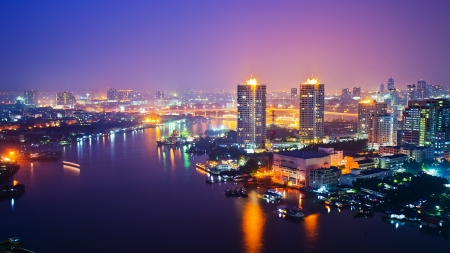 panorama view: Panorama view of Bangkok city scape at nighttime